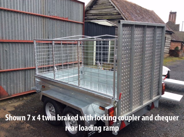 Shown 7 x 4 twin braked with locking coupler and chequer rear loading ramp
